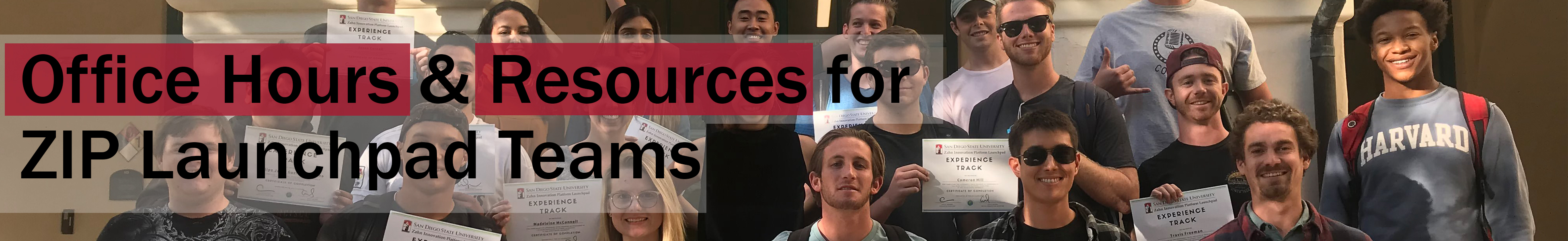 """Office Hours and Resouces for Active ZIP Launchpad Teams"" with a picture of students behind"