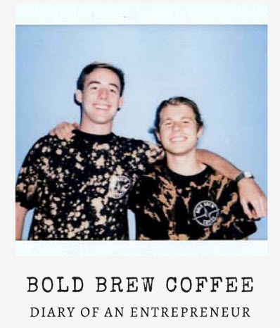 Polaroid of Bold Brew Team, Jack and Jake standing togther