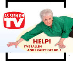 Screenshot of fallen old woman on TV ad