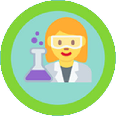 Woman doing science icon