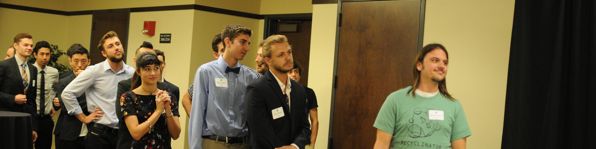 Students waiting in line to pitch