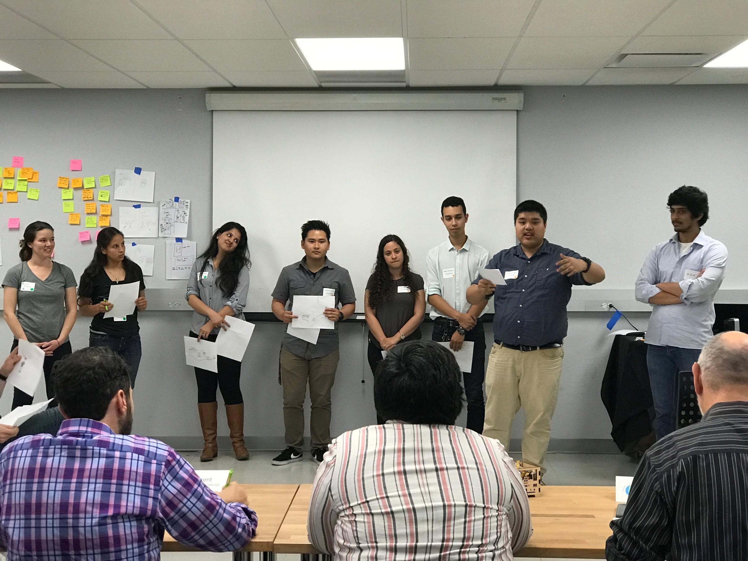 Students presenting during the Clean Transportation Challenge.